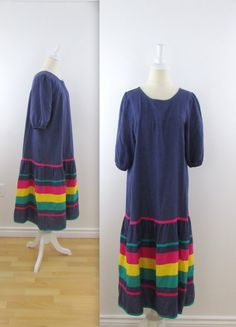 Rainbow Chambray Peasant Dress  Vintage 1970s by TwoMoxie on Etsy
