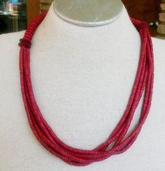Vintage Boho Red Bovine Necklace Tribal Ethnic Multi Strand Bead 1980s #NotSigned #Tribal