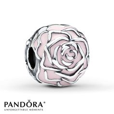 Pink enamel accents rose petals on this pretty sterling silver clip from the Pandora Mother's Day 2014 collection.  Style # 791292EN40.