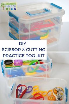 DIY scissor and cutting practice toolkit for parents, teachers, and therapists. via /growhandsonkids/