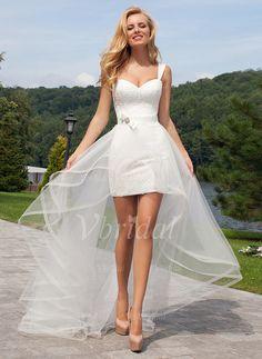 Vestidos de novia - $123.06 - Vestido tubo Escote corazón Desmontable Tul Encaje Vestido de novia con Encaje (0025059539)