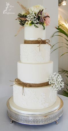 Country Lace and Twine Wedding Cake with fresh flowers, www.tiersofhappiness.net