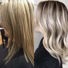 Makeover Monday This is our second session going from a full highly highlighted yellow blonde , to a dimensional low maintenance cool toned blonde .