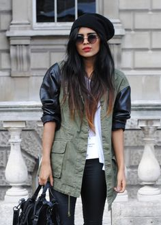 cargo jacket w/leather sleeves and really nice hair.