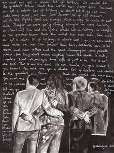 "Watercolor illustration of One Direction with ""History"" lyrics"