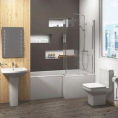 Trim Complete Bathroom Suite | KLPK4098 | Modern Bath Shower Mixer Taps, Bath Taps, Basin Mixer Taps, Bathrooms Suites, L Shaped Bath, Close Coupled Toilets, Illuminated Mirrors, Bath Screens, Heating And Plumbing