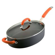 Rachael Ray Hard Anodized Nonstick 5-Quart Oval Saute Pan with Glass Lid, Orange by Rachael Ray $72.99 @ Amazon