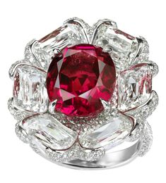 GABRIELLE'S AMAZING FANTASY CLOSET | Non-heated Burmese ruby and diamond flower ring | Saved for Future Outfits in Gabrielle's Amazing Fantasy Closet