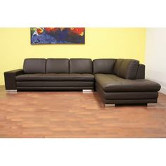 Have to have it. Baxton Studio Princeton Brown Leather Sectional Sofa - $1899.99 @hayneedle.com