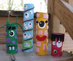 My monster crafts in Parents Magazine - Crafts by Amanda Kids Crafts, Fall Crafts, Crafts To Make, Craft Projects, Craft Ideas, Cardboard Tube Crafts, Toilet Paper Roll Crafts, Cardboard Playhouse, Paper Craft