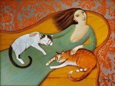 Pinzellades al món: Il·lustracions d'Olesya Serzhantova: gats i dones
