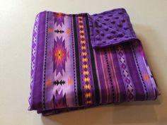 Navajo Minky Baby Blanket Purple baby blanket by StarBoundHorses. Western Cowgirl blanket. Handmade Navajo print nursery bedding.