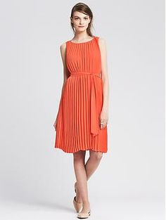 Pleated Tie-Front Dress | Banana Republic