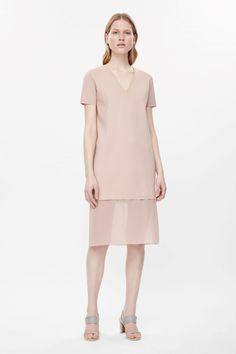 COS | V-neck dress with chiffon bottom