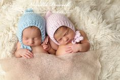 PROMOTIONAL PRICE Newbor bonnet hat Newborn twins by Merrieknit
