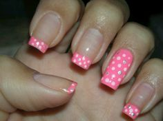 Decorated nails, always fashionable French nails - 30 Trendy Nail Art - French Nails, Pink French Manicure, French Pedicure, Pedicure Nail Art, Manicure Tips, Polka Dot Nails, Pink Nails, Polka Dots, French Nail Designs