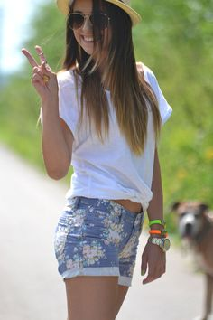 love the floral shorts with the plain white tee