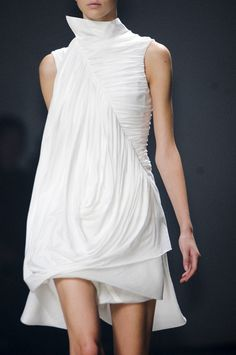 Draping & Gathering - beautifully constructed white dress with elegant textures; fabric manipulation for fashion design // Rick Owens