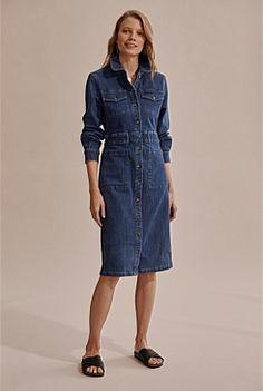 Denim & Jeans Slouch Jeans, Jean Shirt Dress, Safari Dress, Straight Cut Jeans, Summer Denim, Midi Length Skirts, Indigo Dye, Shoe Size Conversion, Stretch Denim