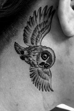 #owl #tattoo #neck #small