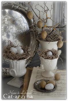 Use urns and moss for Easter eggs
