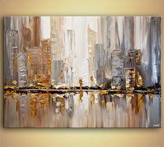 ORIGINAL City moderne Acryl Spachtel Malerei von OsnatFineArt