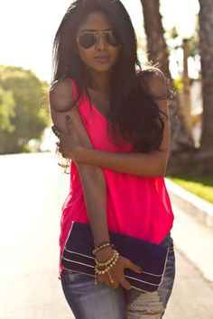 Neon pink tank w ripped jeans ♡
