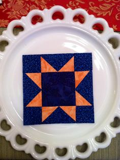 """Block # 31 - Evening Star,  I remember the Minnesota starry nights, looking for the North Star, the big and little dippers and sleeping out on the ground at Gramma's and at campgrounds. The essay winner wrote that """"men can hold deeds to the land, but the beautiful country view, they do not own"""". This block is easy to make and would look great in any color combination."""