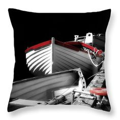 Done For the Day Throw Pillow by Micki Findlay - TheSingingPhotographer.com - various sizes, home decor, cushion, boat, black, white, red, nautical, nanaimo, harbour, ocean