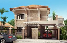 Home Design Drawing is a Two Story House Plan with 3 bedrooms, 2 baths and 1 garage. It is also a single attached house plan since the right side wall is fire-walled to maximize lot usage. The minimum lot . Two Story House Design, 2 Storey House Design, Two Story House Plans, Free House Plans, Two Storey House, House Front Design, Small House Design, Modern House Design, Roof Design