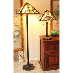"""Dynamic Way Serena d'italia 2 Piece 60"""" Floral Table and 60"""" Floor Lamp Set Empire Shade"""