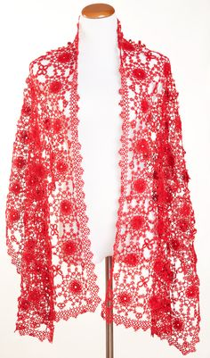 Handmade Tatting Lace Shawl / Scarf (400). $85.00, via Etsy.