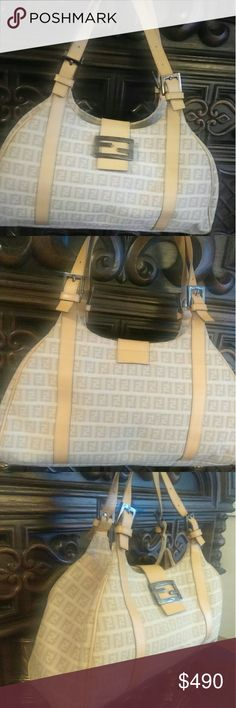 🍇NWOT🍇FENDI ZUCCA LARGE BAG BeautifuL and used once! In new condition and cream in color! Currently on the real real for 899 in Same Condition!!! please ask any questions! Fendi Bags