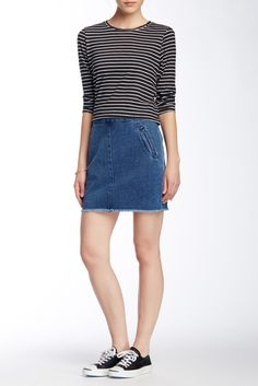 Zip Frayed Mini Skirt