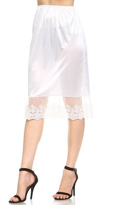Womens Long Single Lace Satin Underskirt Skirt Extender Half Slip for Lengthening Medium_Longer White * You can discover even more details at the link of the photo. (This is an affiliate link). #whitelingerie