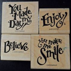 Rubber Stamp Lot 4 Four Words Phrases Believe by ShellysSweetFinds