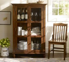 Tivoli Glass Cabinet - Tuscan Chestnut stain   Pottery Barn