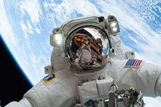 NASA astronaut Mike Hopkins snapped a selfie while completing a spacewalk outside of the Earth-orbiting International Space Station on Dec. 24, 2013.