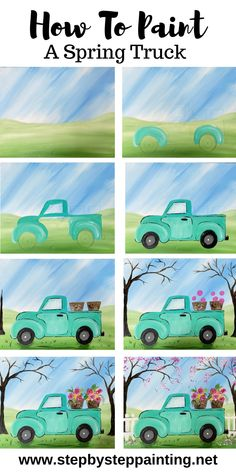 Spring Truck Painting - Learn how to paint a spring theme truck step by step for beginners. crafts step by step Spring Truck Painting Simple Canvas Paintings, Easy Canvas Painting, Spring Painting, Diy Painting, Watercolor Painting, Acrylic Canvas, How To Paint Canvas, Spring Drawing, Rustic Painting