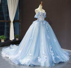 Puffy Dresses, Royal Dresses, Quince Dresses, Light Blue Quinceanera Dresses, Long Sleeve Quinceanera Dresses, Floral Prom Dresses, Dresses Dresses, Ball Dresses, Homecoming Dresses