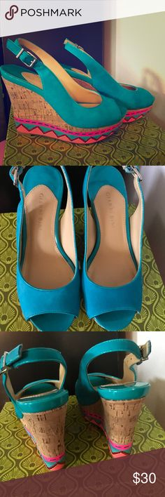 Gianni Bini Bermuda Blue Wedges Used only a few times. Very bright colors. Gianni Bini Shoes Wedges