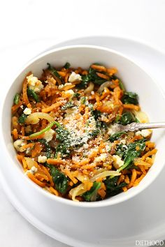 Sweet Potato Noodles with Spinach | www.diethood.com | Delicious, adaptable, vegetarian recipe with garlicky sweet potato noodles, spinach, onions, and a sprinkle of cheese.