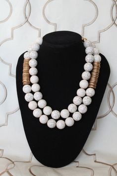 Wilhelmina Necklace - Elegant, classic, modern & tribal statement piece made of large cream howlite beads with gold painted wood discs.