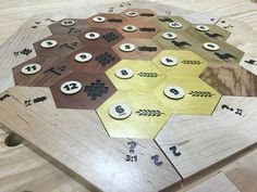 Building custom Settlers of Catan hexagon pieces. It was a fun project. I didn't get the xcarve till have way through the project or I would have cut the hex...