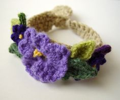 Crochet Purple Pansy Spring Flowers Bracelet by meekssandygirl, via Flickr