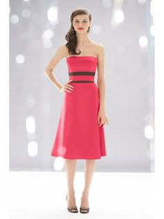 Satin A-line Strapless Knee-Length Bridesmaid Dress