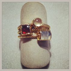 Stephen Estelle trio of rings in vermeil -- with crystal, garnet, and moonstone  At DVVS Fine Jewelry