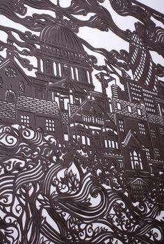 'London Cityscape' papercut (detail) by Andy Singleton