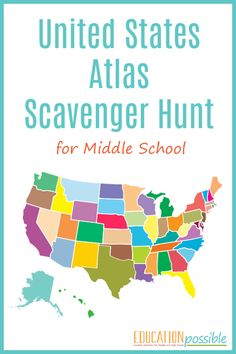 This United States atlas scavenger hunt is a fun way to help your middle school and high school students learn interesting facts about United States geography. Us Geography, Geography Activities, Geography Lessons, Teaching Geography, Middle School Geography, Education Middle School, Social Studies Classroom, Social Studies Activities, Middle Schoolers