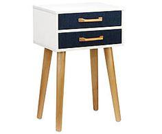 Table d'appoint SOPHIE pin et carton, bleu foncé - H54